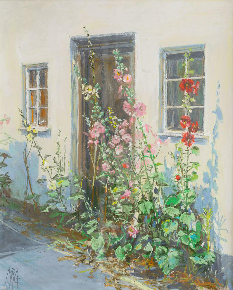 Hollyhock-Cottage-pastel-13-x-17