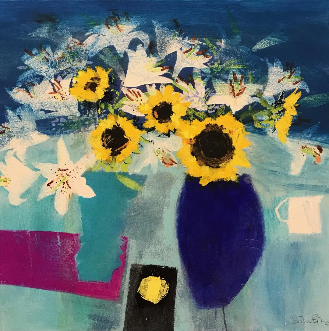 Sunflowers and White Lilies 30 ins x 30 ins